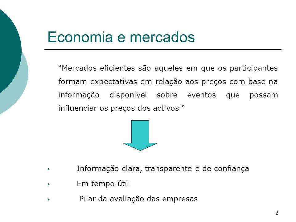 Economia e mercados Informação clara, transparente e de confiança