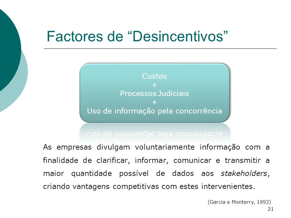 Factores de Desincentivos