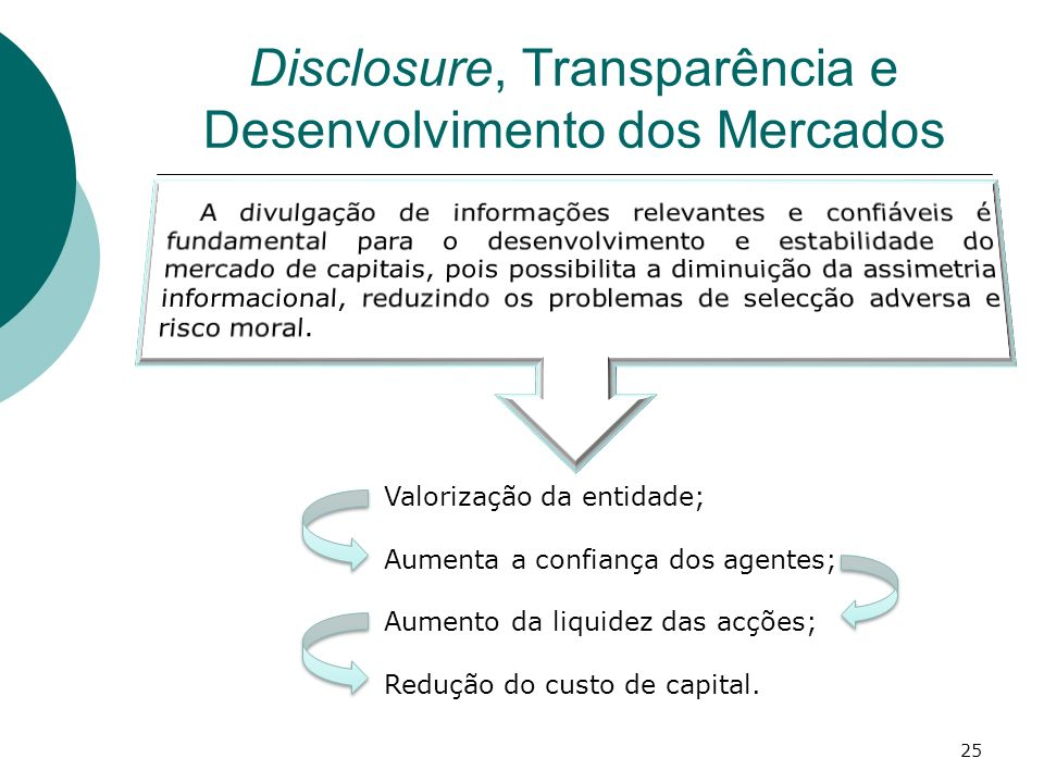 Disclosure, Transparência e Desenvolvimento dos Mercados