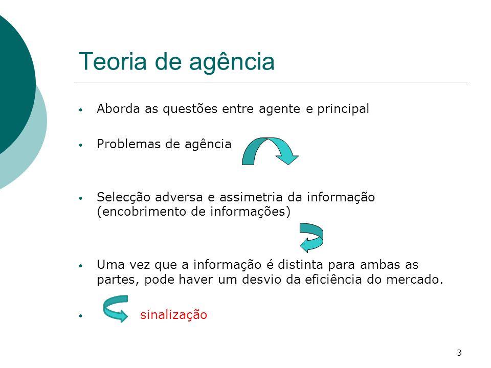Teoria de agência Aborda as questões entre agente e principal