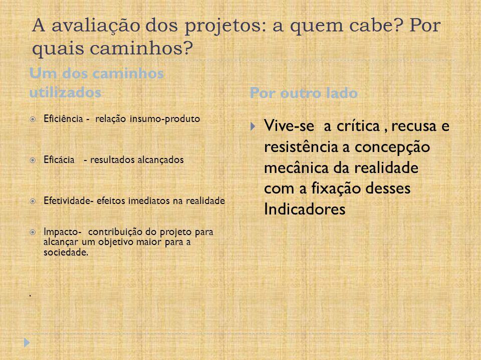 A avaliação dos projetos: a quem cabe Por quais caminhos