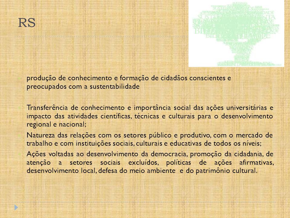 RS produção de conhecimento e formação de cidadãos conscientes e preocupados com a sustentabilidade.