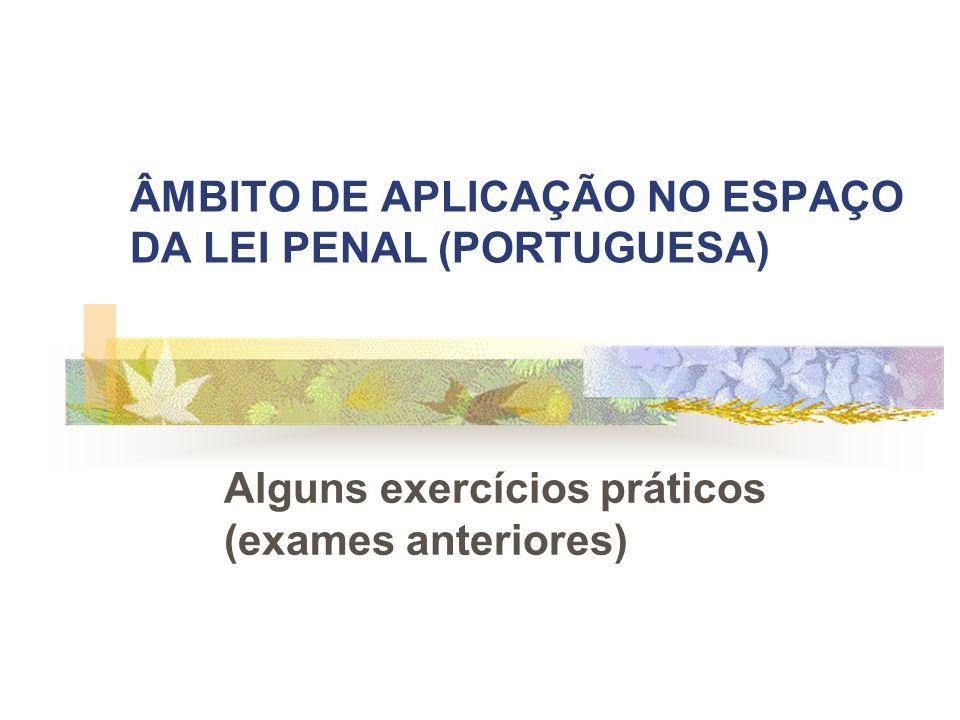ÂMBITO DE APLICAÇÃO NO ESPAÇO DA LEI PENAL (PORTUGUESA)