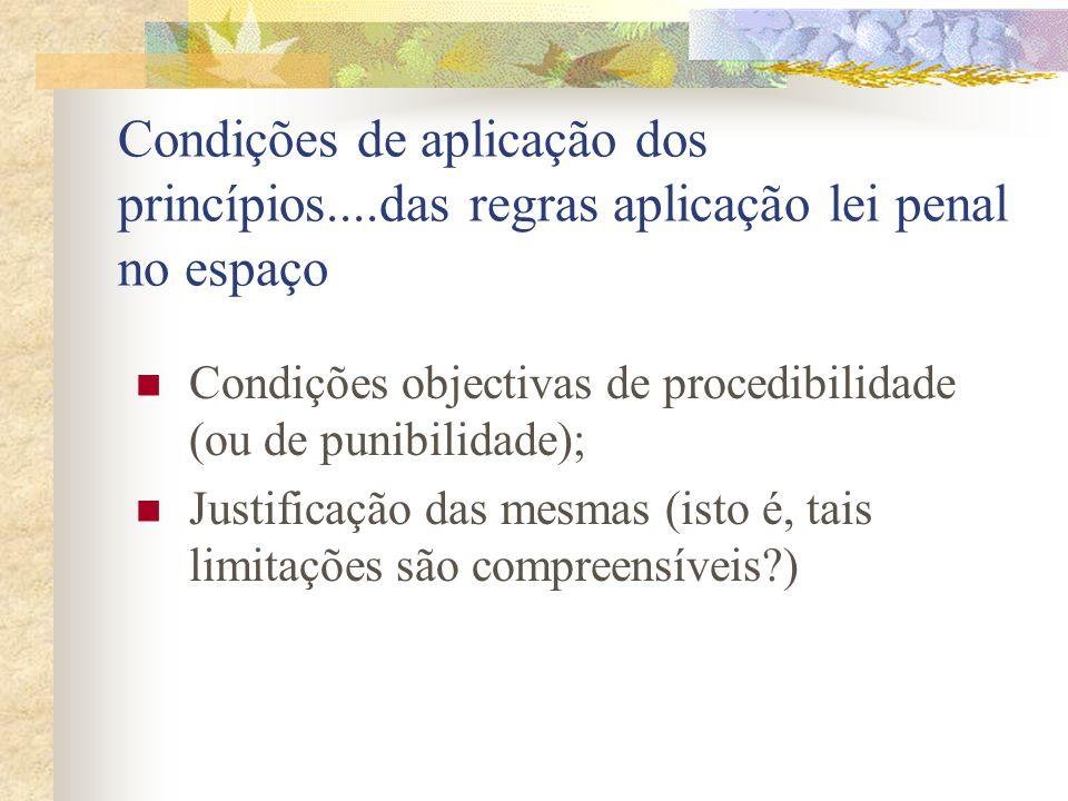 Condições de aplicação dos princípios