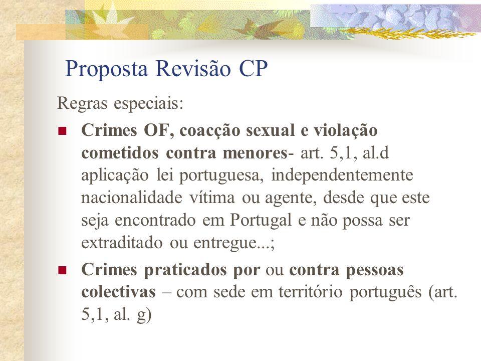 Proposta Revisão CP Regras especiais: