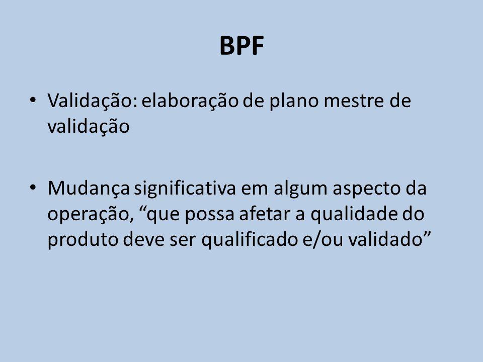 BPF Validação: elaboração de plano mestre de validação