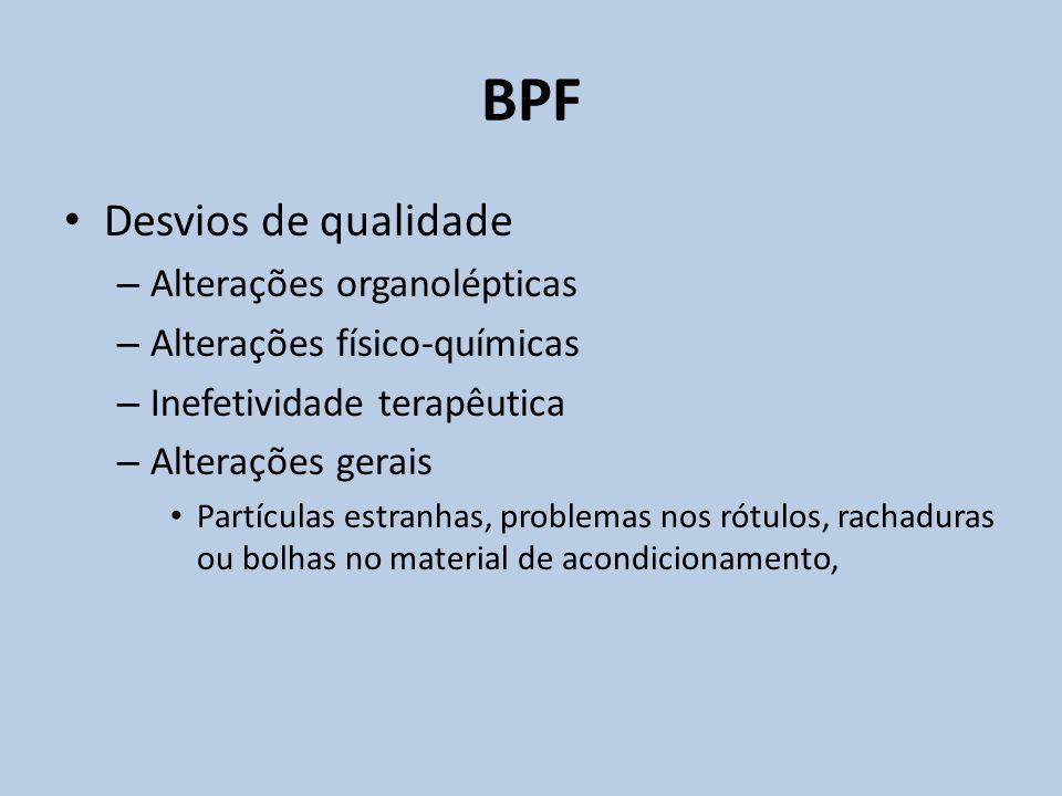 BPF Desvios de qualidade Alterações organolépticas