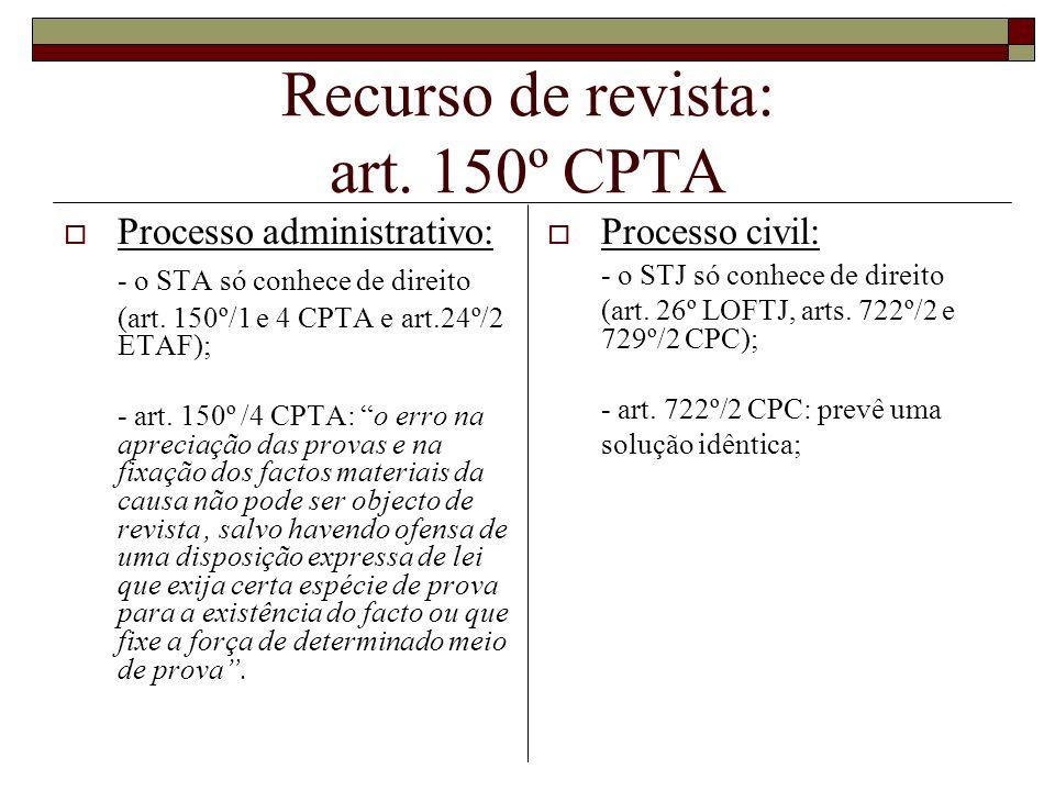 Recurso de revista: art. 150º CPTA