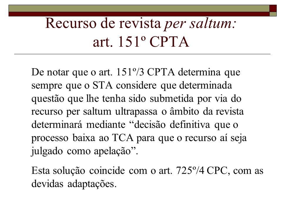Recurso de revista per saltum: art. 151º CPTA