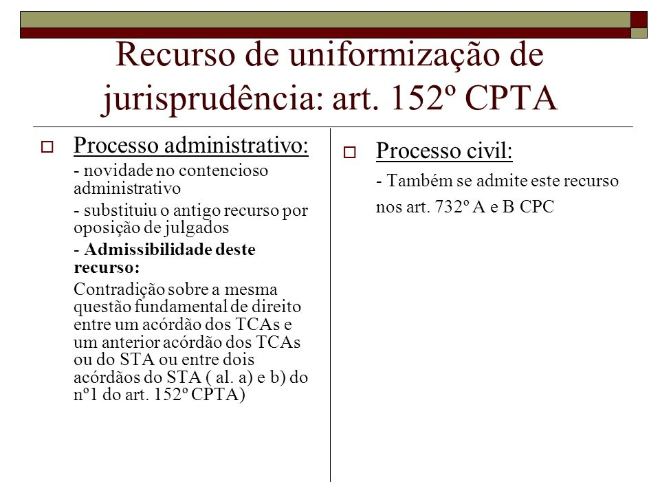 Recurso de uniformização de jurisprudência: art. 152º CPTA