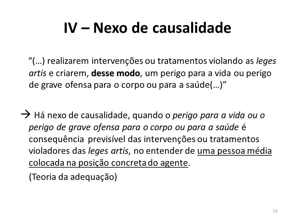 IV – Nexo de causalidade