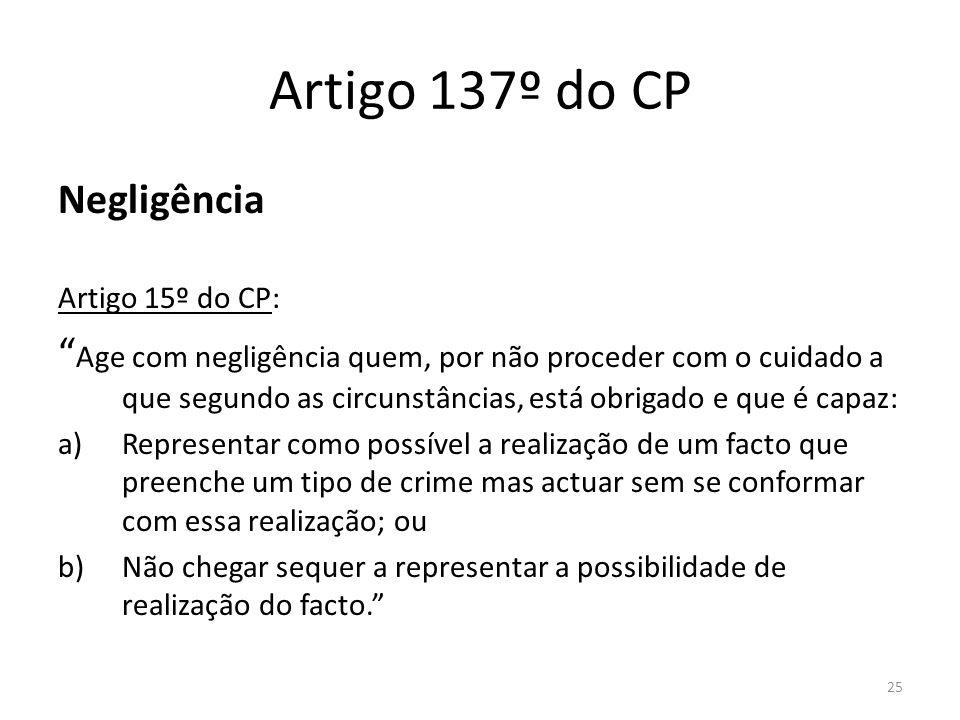 Artigo 137º do CP Negligência