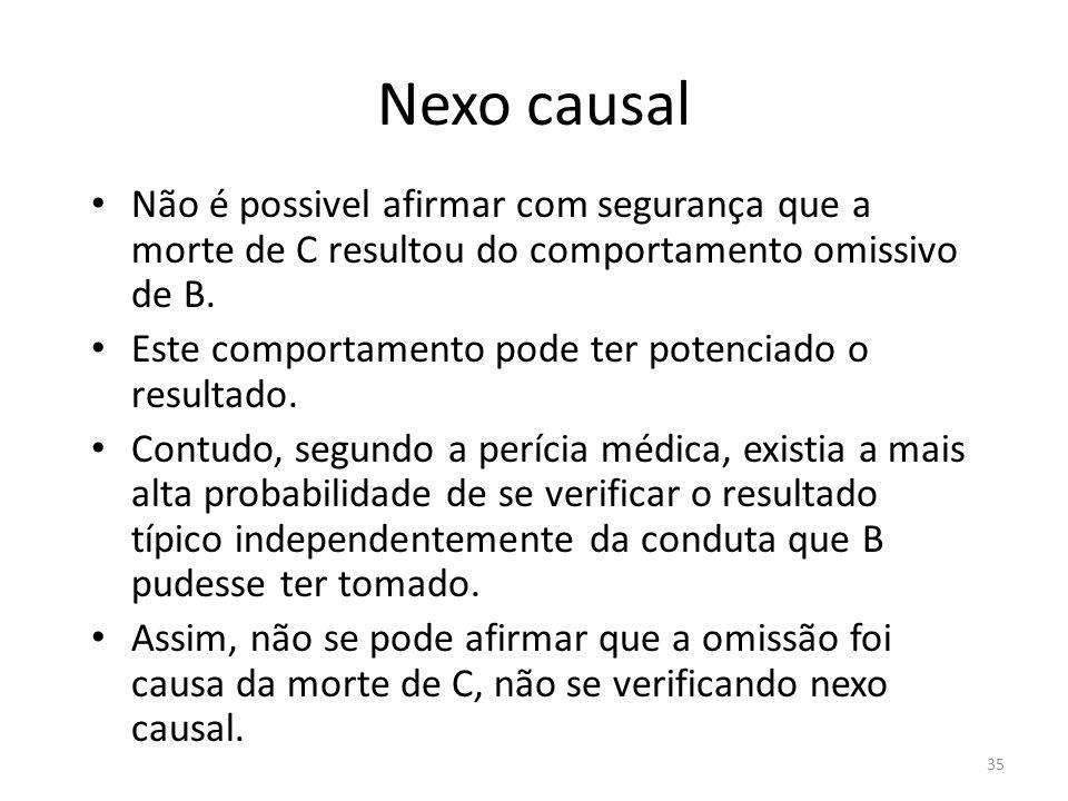 Nexo causal Não é possivel afirmar com segurança que a morte de C resultou do comportamento omissivo de B.