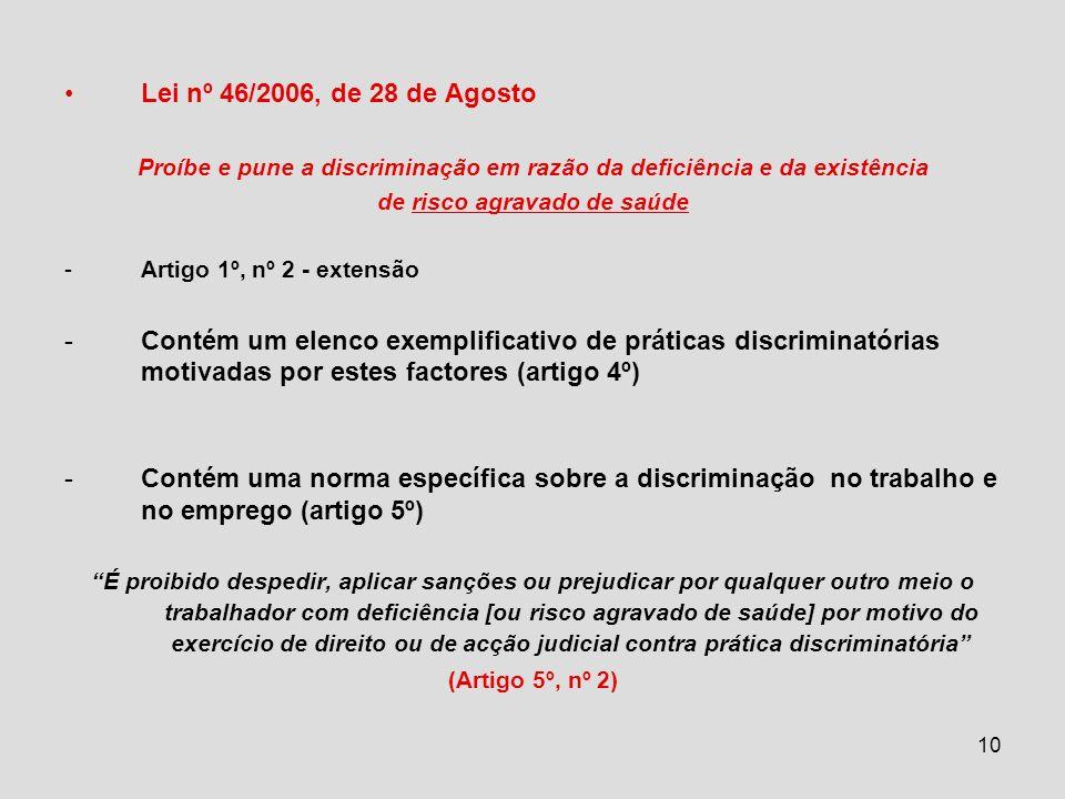 Lei nº 46/2006, de 28 de Agosto Proíbe e pune a discriminação em razão da deficiência e da existência.