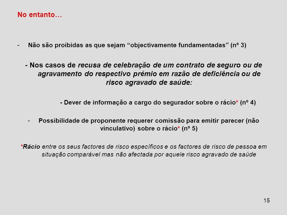 - Dever de informação a cargo do segurador sobre o rácio* (nº 4)