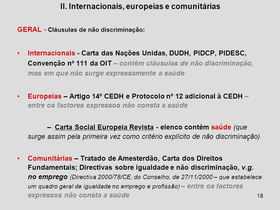 II. Internacionais, europeias e comunitárias