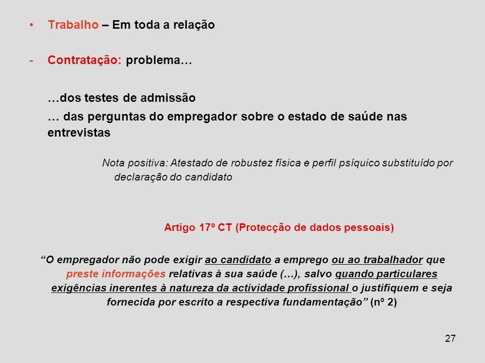 Artigo 17º CT (Protecção de dados pessoais)