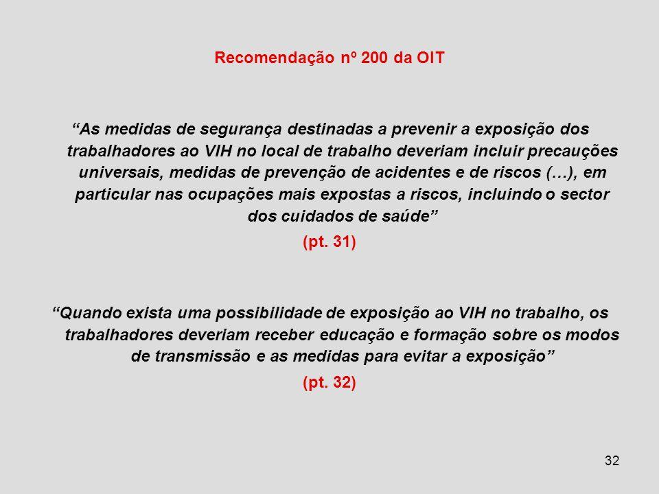 Recomendação nº 200 da OIT As medidas de segurança destinadas a prevenir a exposição dos trabalhadores ao VIH no local de trabalho deveriam incluir precauções universais, medidas de prevenção de acidentes e de riscos (…), em particular nas ocupações mais expostas a riscos, incluindo o sector dos cuidados de saúde (pt.
