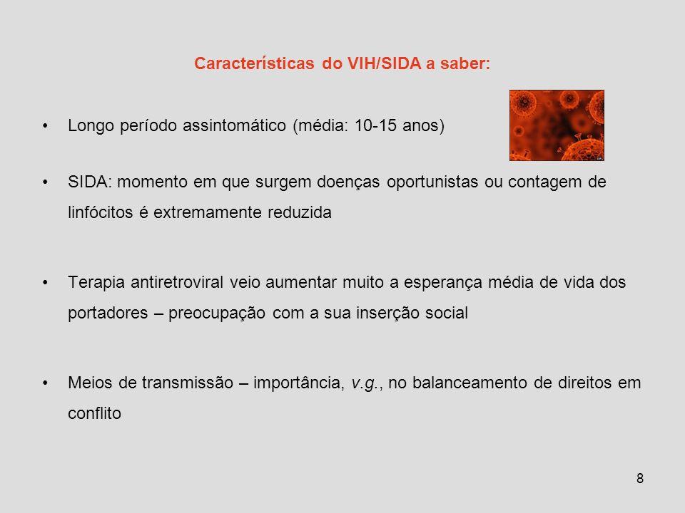 Características do VIH/SIDA a saber: