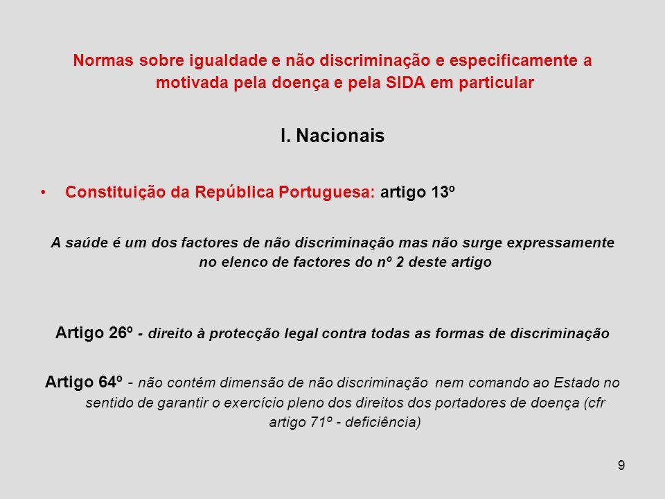 Normas sobre igualdade e não discriminação e especificamente a motivada pela doença e pela SIDA em particular