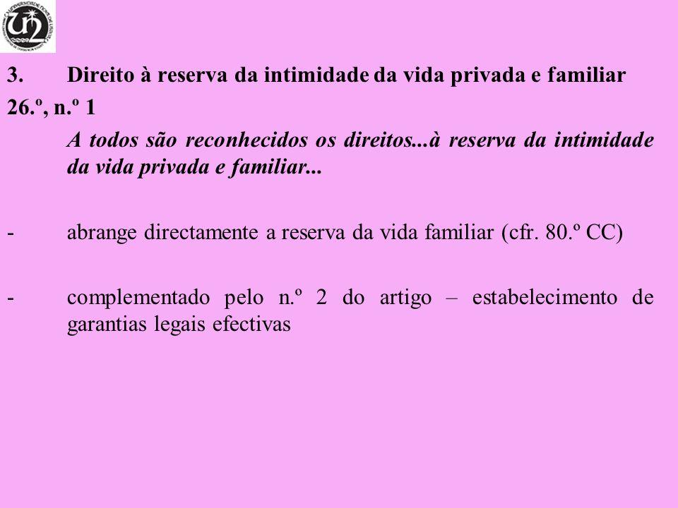 3. Direito à reserva da intimidade da vida privada e familiar