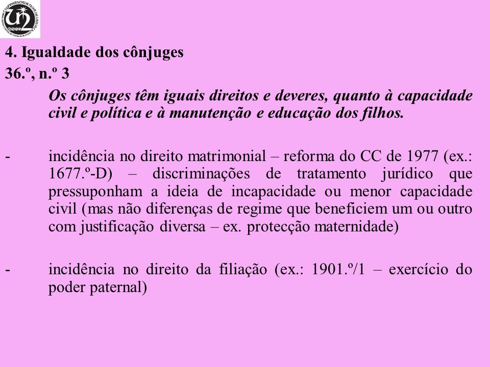4. Igualdade dos cônjuges