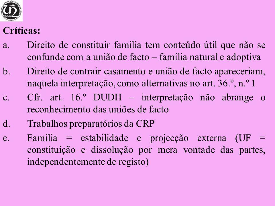 Críticas:Direito de constituir família tem conteúdo útil que não se confunde com a união de facto – família natural e adoptiva.
