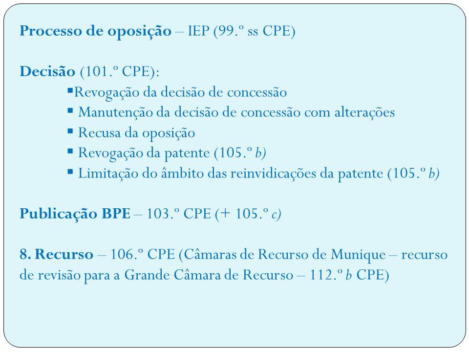 Processo de oposição – IEP (99.º ss CPE)