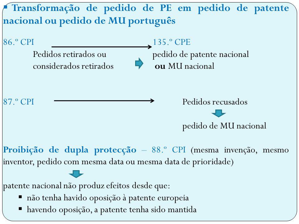 Transformação de pedido de PE em pedido de patente nacional ou pedido de MU português