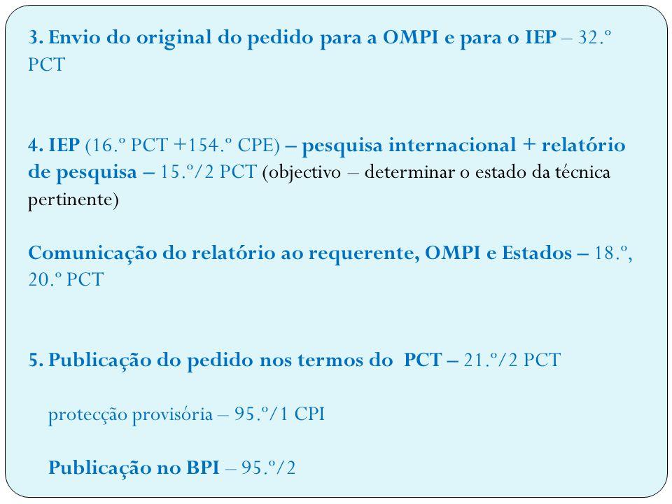 3. Envio do original do pedido para a OMPI e para o IEP – 32.º PCT