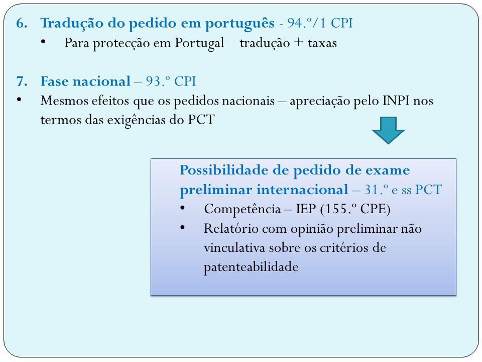 Tradução do pedido em português - 94.º/1 CPI
