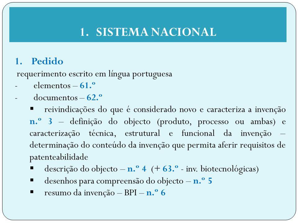 SISTEMA NACIONAL Pedido requerimento escrito em língua portuguesa