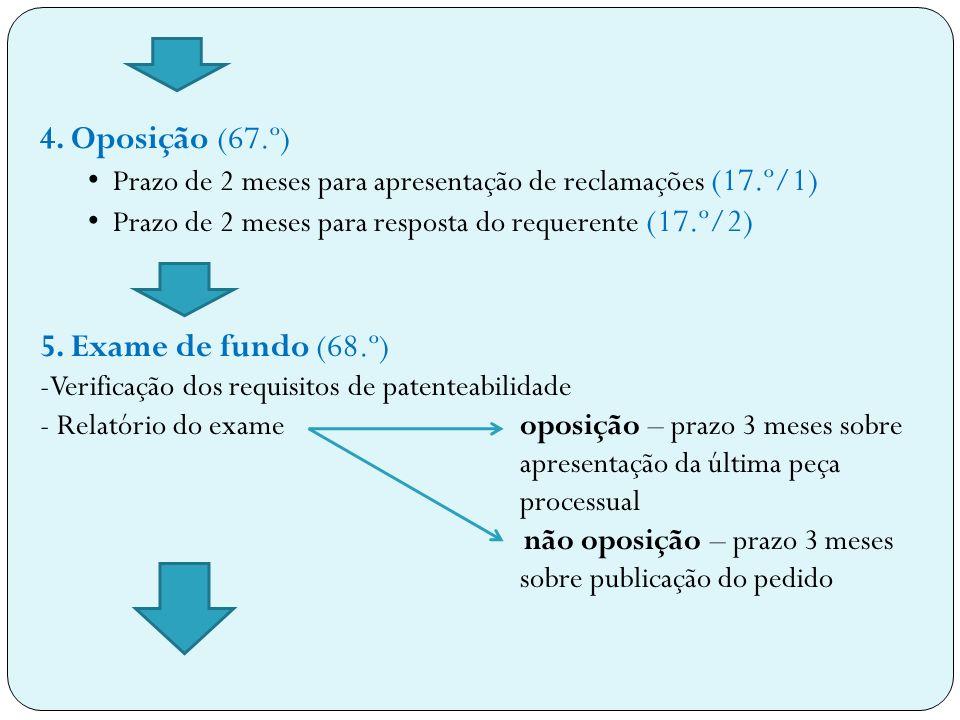 4. Oposição (67.º) 5. Exame de fundo (68.º)