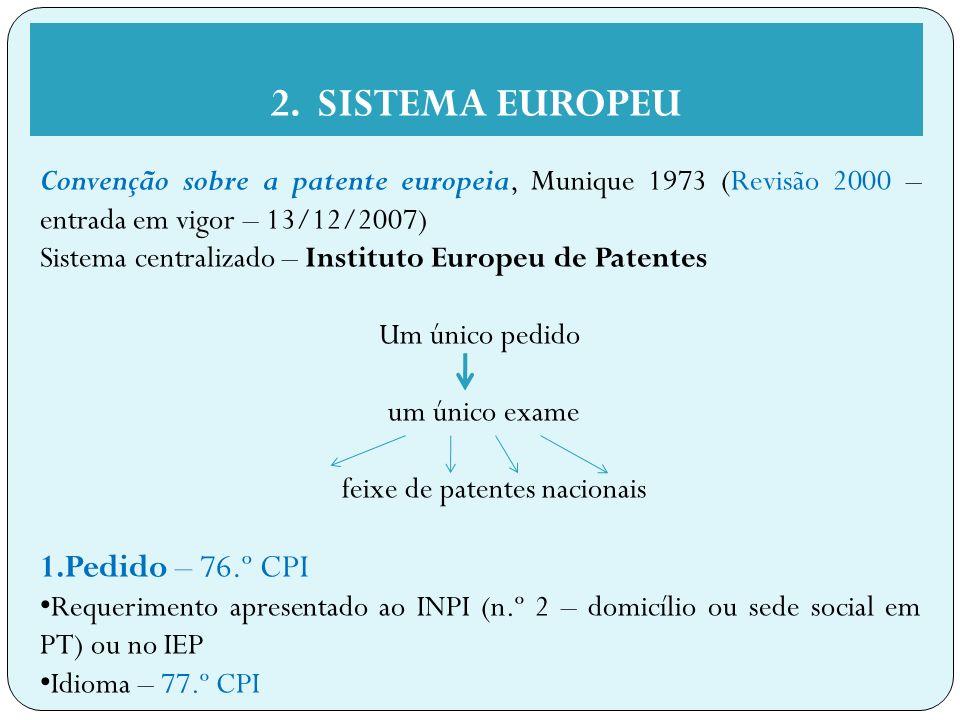 feixe de patentes nacionais