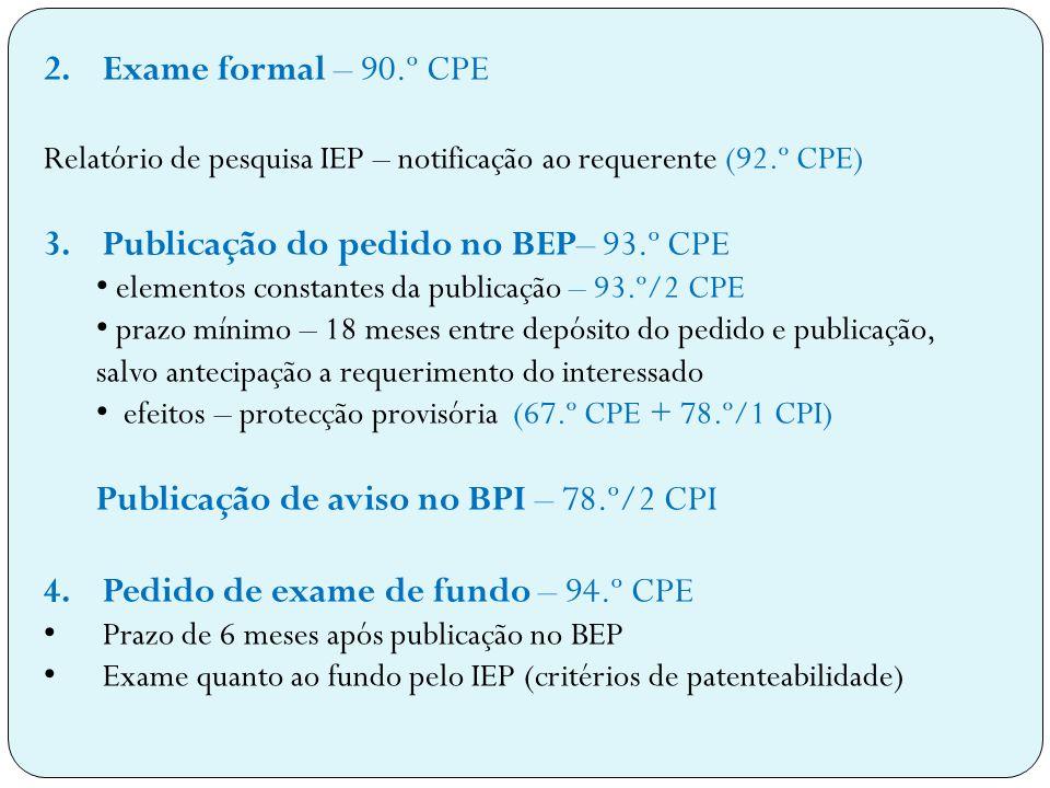 Publicação do pedido no BEP– 93.º CPE