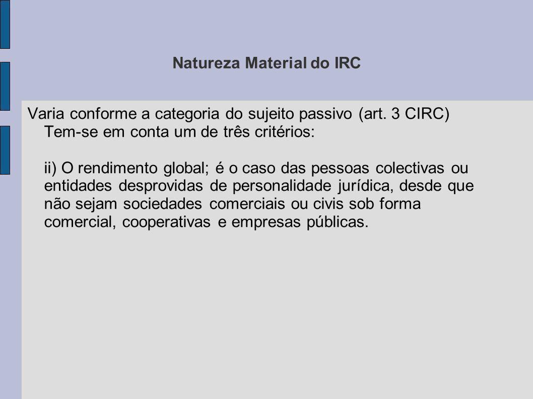Natureza Material do IRC