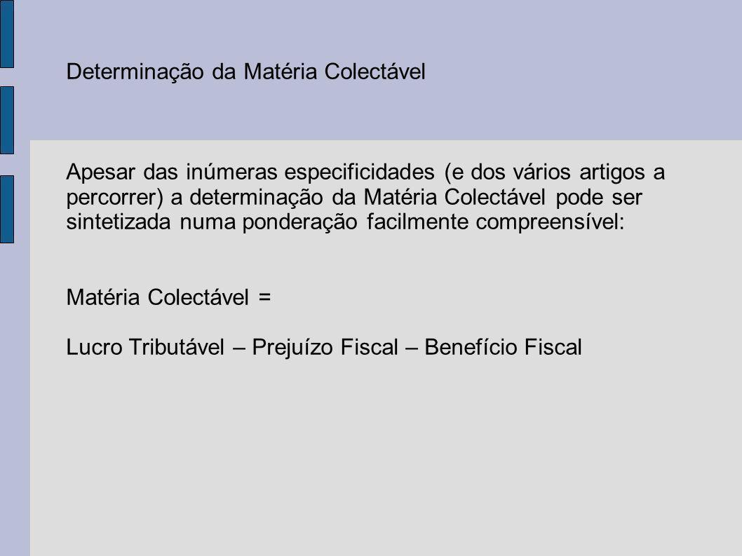 Determinação da Matéria Colectável Apesar das inúmeras especificidades (e dos vários artigos a percorrer) a determinação da Matéria Colectável pode ser sintetizada numa ponderação facilmente compreensível: Matéria Colectável = Lucro Tributável – Prejuízo Fiscal – Benefício Fiscal