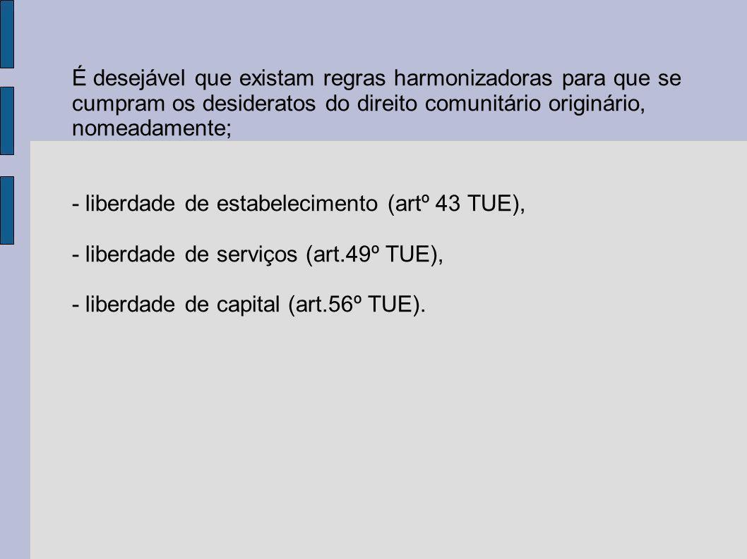 É desejável que existam regras harmonizadoras para que se cumpram os desideratos do direito comunitário originário, nomeadamente; - liberdade de estabelecimento (artº 43 TUE), - liberdade de serviços (art.49º TUE), - liberdade de capital (art.56º TUE).