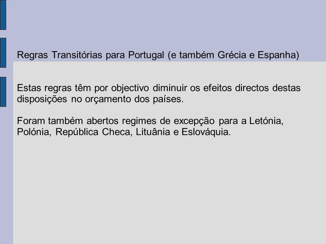 Regras Transitórias para Portugal (e também Grécia e Espanha) Estas regras têm por objectivo diminuir os efeitos directos destas disposições no orçamento dos países.