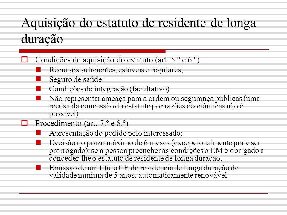 Aquisição do estatuto de residente de longa duração