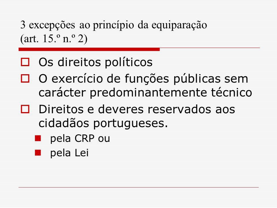 3 excepções ao princípio da equiparação (art. 15.º n.º 2)