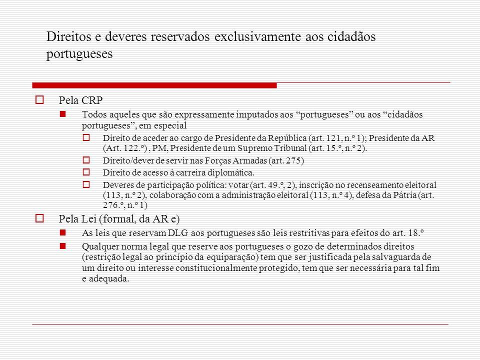 Direitos e deveres reservados exclusivamente aos cidadãos portugueses