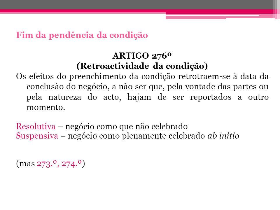 (Retroactividade da condição)