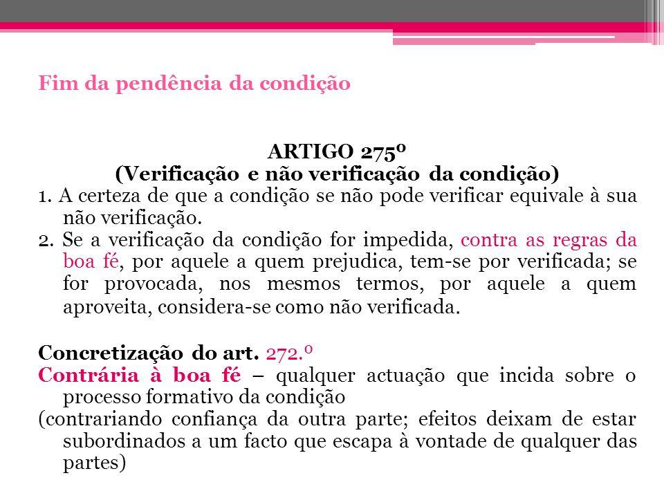 (Verificação e não verificação da condição)