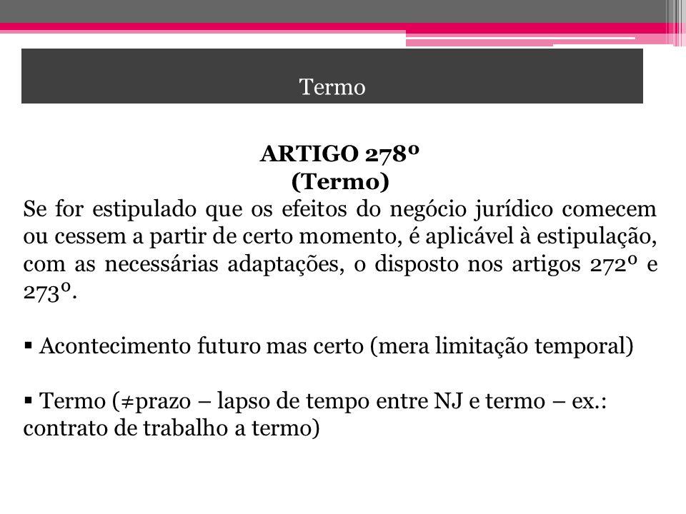 Termo CONDIÇÃO. ARTIGO 278º. (Termo)