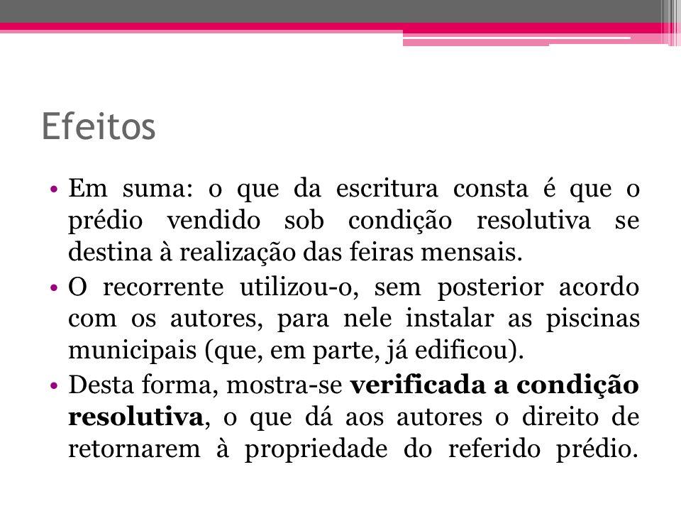 Efeitos Em suma: o que da escritura consta é que o prédio vendido sob condição resolutiva se destina à realização das feiras mensais.