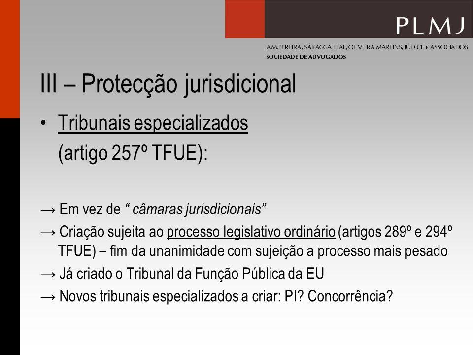 III – Protecção jurisdicional