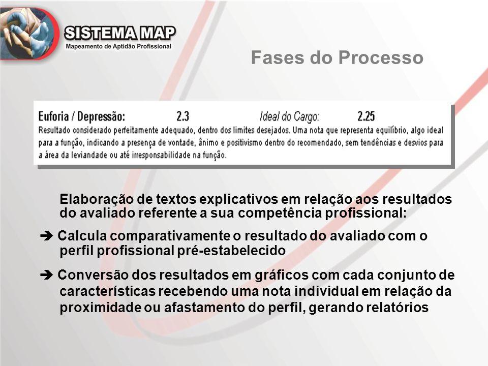 Fases do Processo Elaboração de textos explicativos em relação aos resultados do avaliado referente a sua competência profissional: