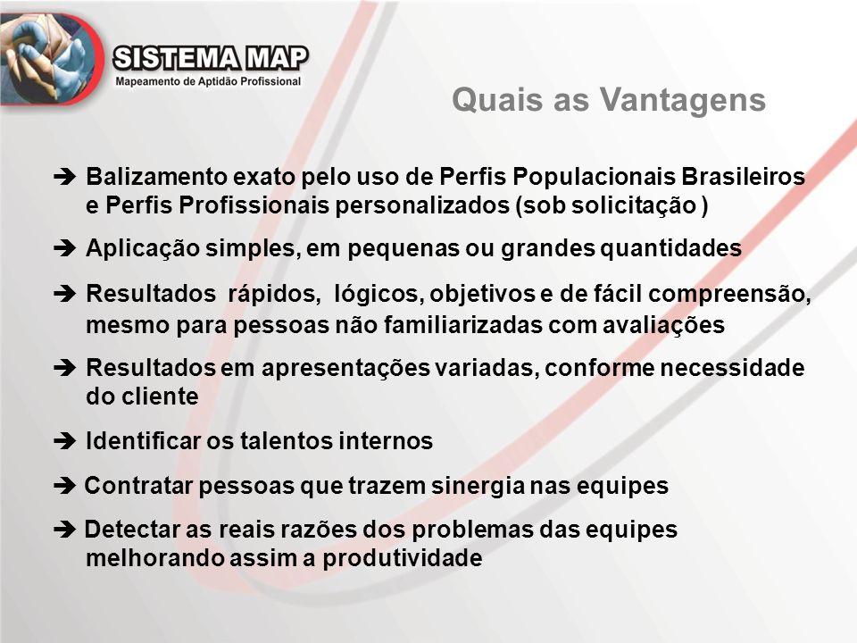 Quais as Vantagens  Balizamento exato pelo uso de Perfis Populacionais Brasileiros. e Perfis Profissionais personalizados (sob solicitação )