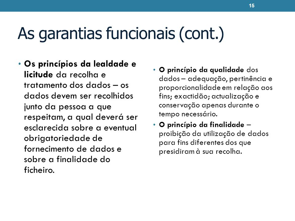 As garantias funcionais (cont.)